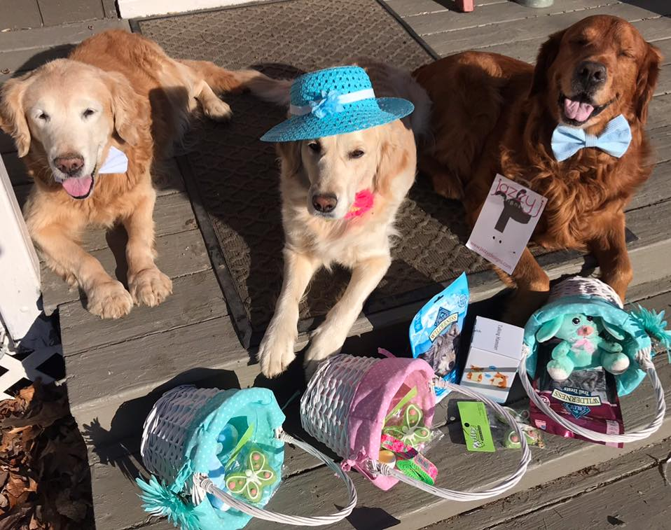 Trooper, Carly & Bean with Easter baskets